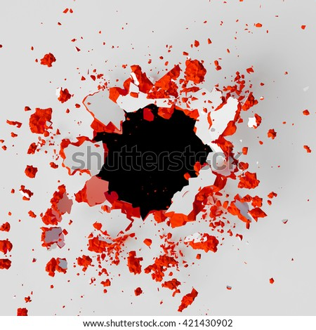 3d render, 3d illustration, explosion, colorful cracked wall, bullet hole, destruction, abstract background - stock photo