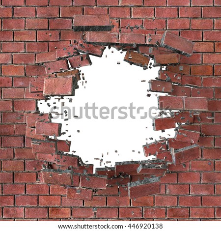 3d Render Illustration Explosion Cracked Red Brick Wall Bullet Hole