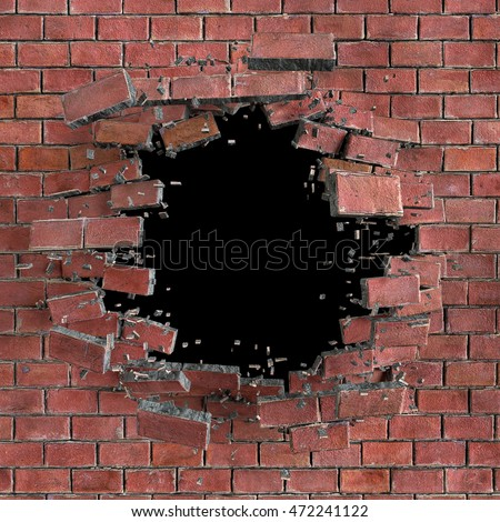 3d Render Digital Illustration Abstract Broken Red Brick Wall Background Hole Isolated