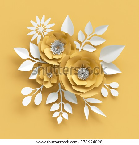 3d render digital illustration decorative yellow stok llstrasyon 3d render digital illustration decorative yellow paper flowers background white leaves valentines mightylinksfo