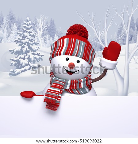3d render, digital illustration, funny snowman waving hand, winter forest landscape, Christmas Holiday background, festive greeting card, blank banner