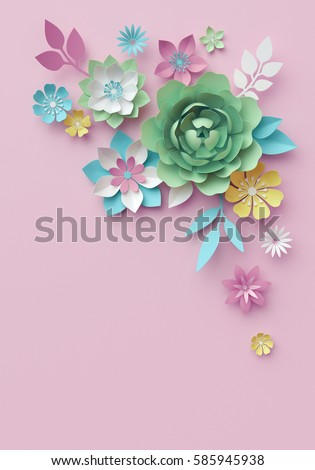 3 d render digital illustration pastel paper stock illustration 3d render digital illustration pastel paper flowers pink mint floral background easter mightylinksfo