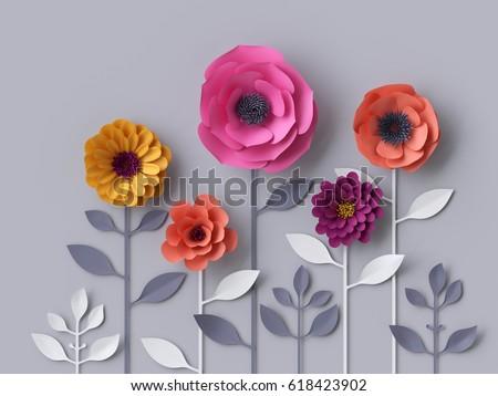 3 d render digital illustration pink purple stock illustration 3d render digital illustration pink purple red yellow paper flowers wallpaper spring summer mightylinksfo