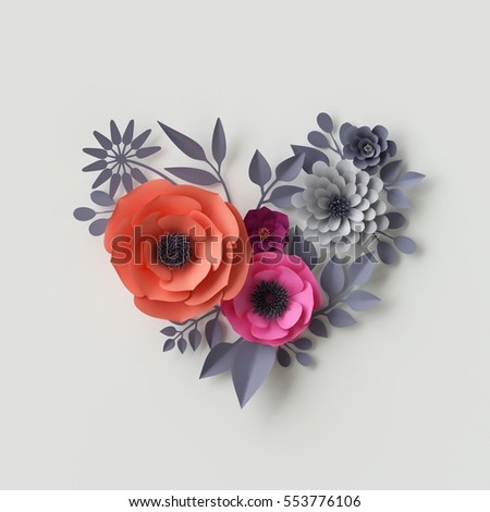 Paper Flower Greeting Card Stock Vector 637808647