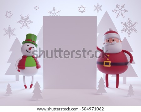 3d render, digital illustration, snowman and santa claus cartoon, holding blank page, white paper cut shapes, forest landscape, festive greeting card, Christmas background, winter holiday scene