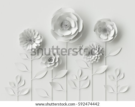3d Render Digital Illustration White Paper Flowers Wallpaper Spring Summer Background Floral