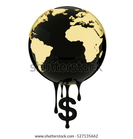 3d render, Earth globe dripping dollar sign oil or diesel