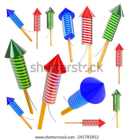 3D Render Firework Rockets in Isolated Background with Work Paths, Clipping Paths Included. - stock photo
