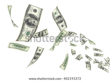 3d render Fly hundred dollar banknotes close-up (isolated and clipping path)