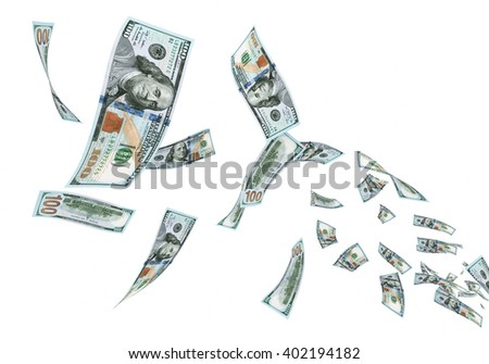 3d render Fly New Hundred dollar banknotes close-up (isolated and clipping path) - stock photo