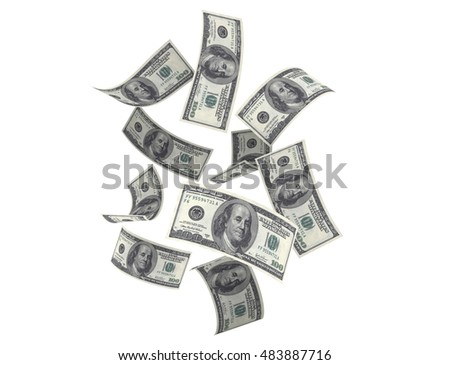 3D render Fly One dollar banknotes close-up (isolated and clipping path)