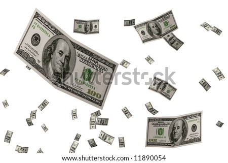 3D Render Flying $100 Dollar Bill