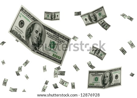 3D Render Flying $100 Dollar Bill - stock photo