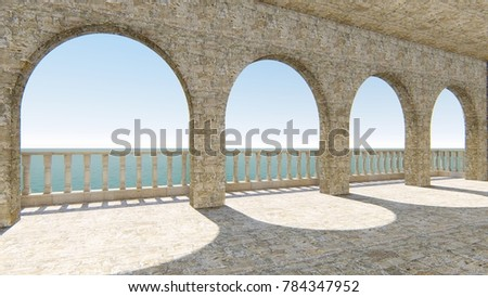 3d render from imagine fresco Italy balcony left view