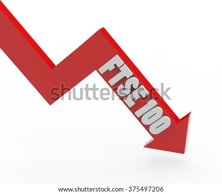 3d render FTSE 100 stock market index in a red arrow on a white background.  - stock photo