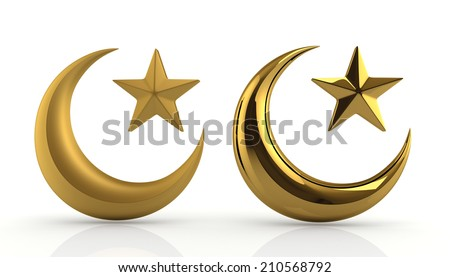 3D render glossiness & reflection golden Islamic star and crescent in isolated background with work paths, clipping paths included - stock photo