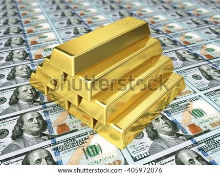 3d render Gold bars and hundred dollar (depth of field) - stock photo