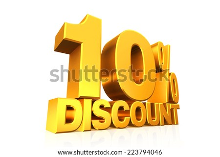 3D render gold text 10 percent discount on white background with reflection. - stock photo
