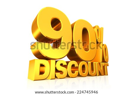 3D render gold text 90 percent discount on white background with reflection.