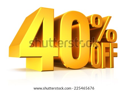 3D render gold text 40 percent off on white background with reflection. - stock photo