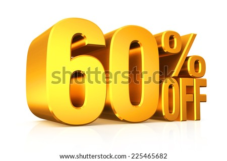 3D render gold text 60 percent off on white background with reflection.