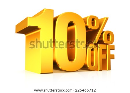 3D render gold text 10 percent off on white background with reflection. - stock photo