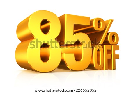 3D render gold text 85 percent off on white background with reflection.