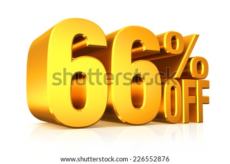 3D render gold text 66 percent off on white background with reflection.