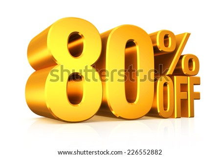 3D render gold text 80 percent off on white background with reflection.