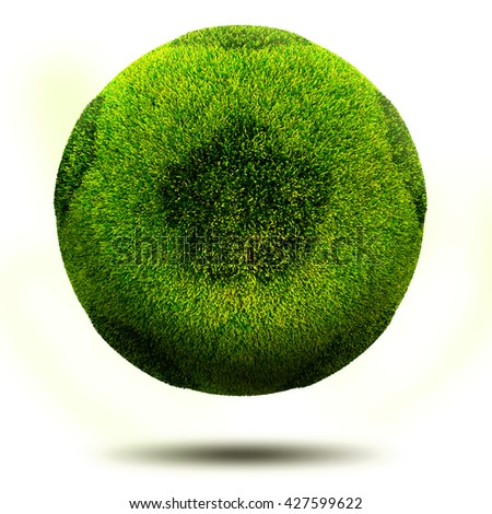 3d render, Green grass football. Isolated on white. - stock photo