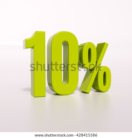 3d render: green 10 percent, percentage discount sign on white, 10% - stock photo
