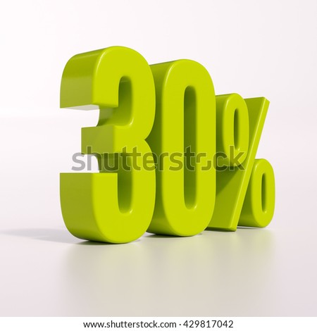 3d render: green 30 percent, percentage discount sign on white, 30% - stock photo