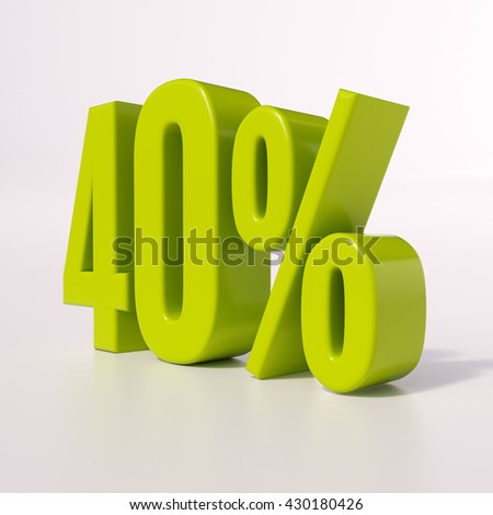 3d render: green 40 percent, percentage discount sign on white, 40% - stock photo