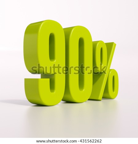 3d render: green 90 percent, percentage discount sign on white, 90% - stock photo