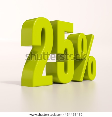 3d render: green 25 percent, percentage discount sign on white, 25% - stock photo