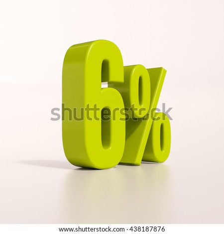 3d render: green 6 percent, percentage discount sign on white, 6% - stock photo