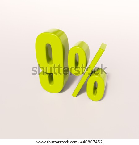 3d render: green 9 percent, percentage discount sign on white, 9% - stock photo