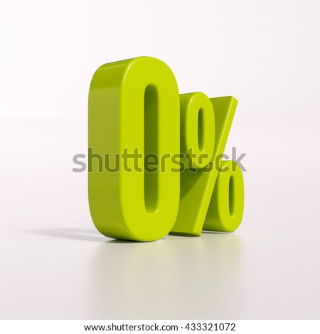 3d render: green 0 percent, percentage sign on white, 0% - stock photo