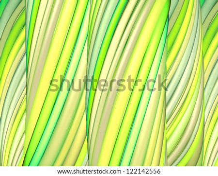 3d render green yellow organic wave pattern - stock photo