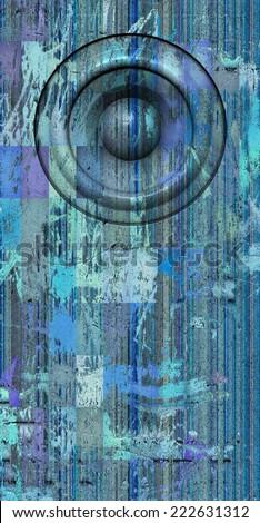 3d render grunge blue old speaker sound system - stock photo