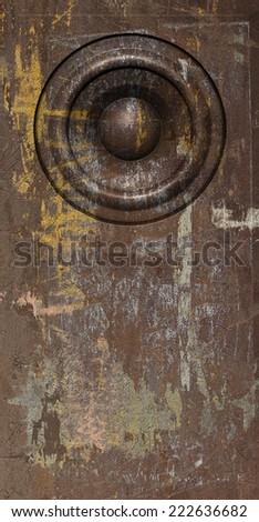 3d render grunge brown old speaker sound system - stock photo