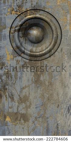 3d render grunge gray beige old speaker sound system  - stock photo