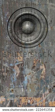 3d render grunge gray old speaker sound system - stock photo
