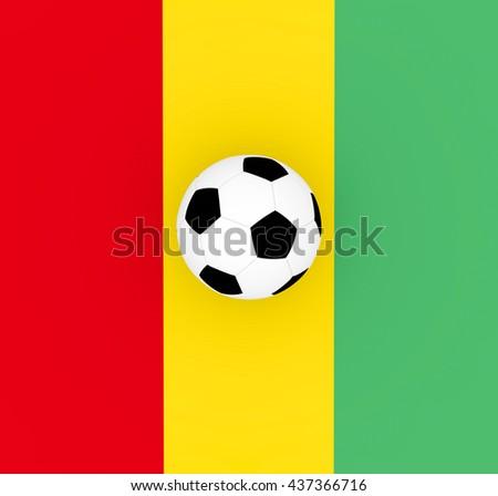 3d render Guinea football with a flag an a soccer ball.  - stock photo
