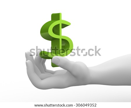 3d render hand and dollar sign