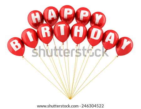 3d render Happy Birthday Writing red balloons render (isolated on white and clipping path) - stock photo