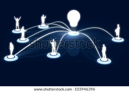 3D render human Link networking lightbulb Public Data Business - stock photo