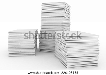 3d render illustration big piles of paper - stock photo