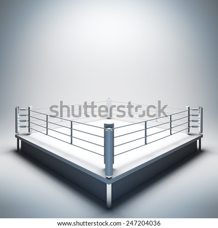3d render illustration blank template layout of empty white boxing ring. Empty copy space to place your text, object, logo or photo boxers. - stock photo