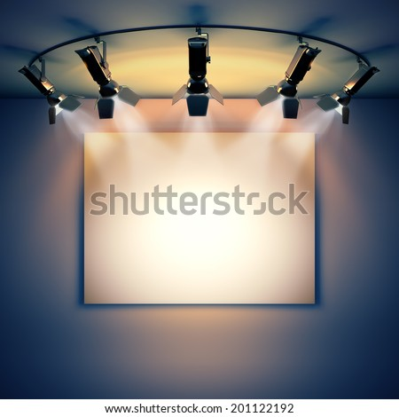 3d render illustration blank template layout of empty white picture canvas on wall illuminated by spotlights. - stock photo
